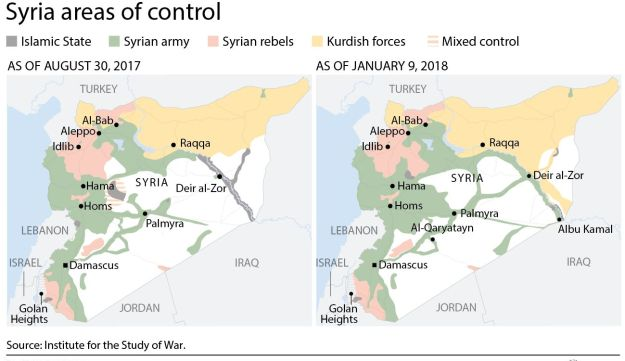 Syria areas of control as of January 2018