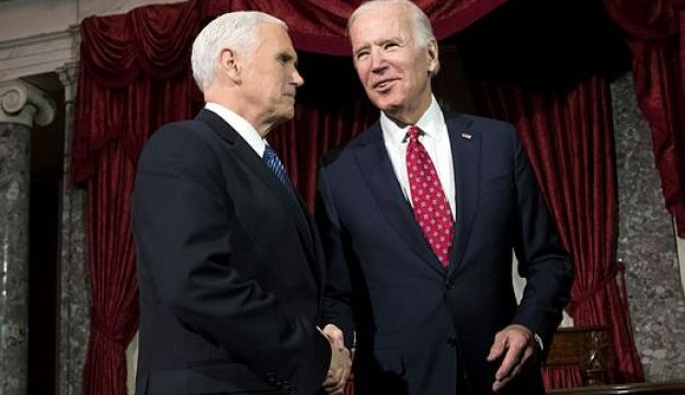 Mike Pence and Joe Biden at the Capitol in Washington, Jan. 3, 2018.