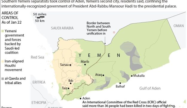 Map of Yemen showing latest areas of control