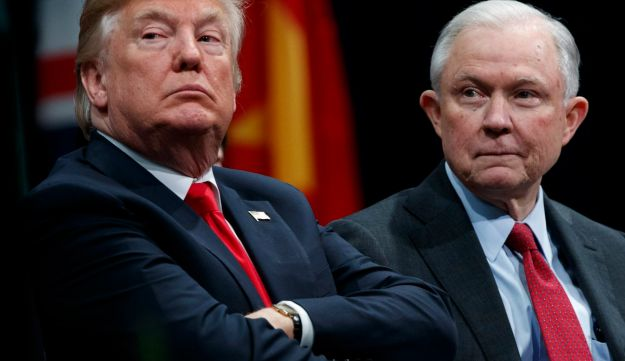U.S. President Donald Trump and Attorney General Jeff Sessions attend the FBI National Academy graduation ceremony in Quantico, Virginia, December 15, 2017.