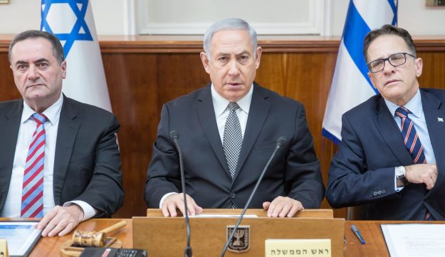 Prime Minister Benjamin Netanyahu at a cabinet meeting in the Knesset on February 4, 2018.