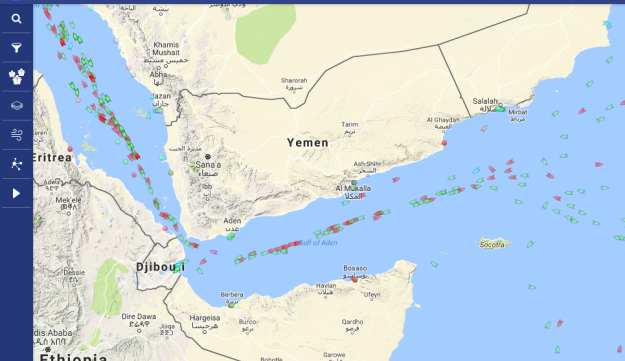 Current shipping traffic in the Bab al-Mandab strait