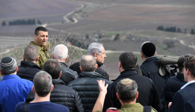 Members of the security cabinet visit the Israel-Syria border in the Golan Heights, February 6, 2018.