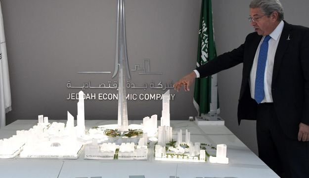 Mounib Hammoud, Chief Executive Officer of Jeddah Economic Company, shows a model of Jeddah Tower in Jeddah, Saudi Arabia, February 6, 2018.