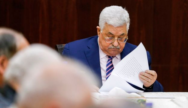 Palestinian president Mahmoud Abbas at the  Executive Committee at the Palestinian Authority headquarters in the West Bank city of Ramallah on February 3, 2018.