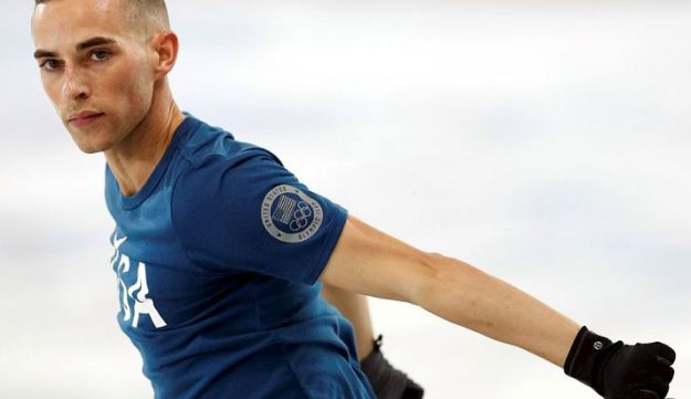 Adam Rippon of the U.S. reacts during training ahead of the Pyeongchang, South Korea 2018 Winter Olympics, February 8th, 2018