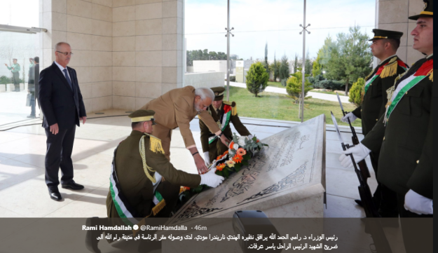 Narenda Modi lays a wreath on the grave of Yasser Arafat on a visit to the Palestinian territories on February 10, 2018.