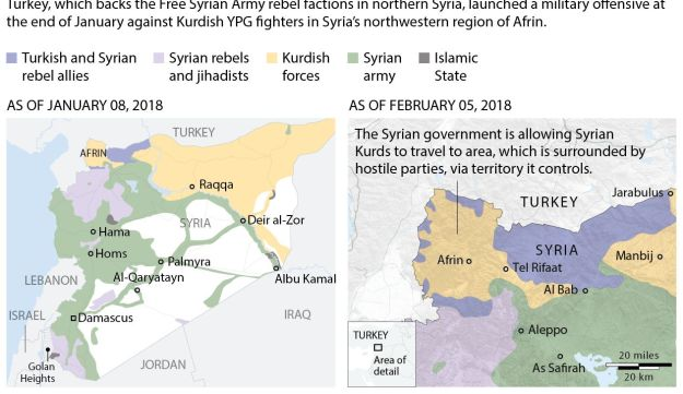 Maps showing areas of control in Syria, Jan 08 and Feb 05