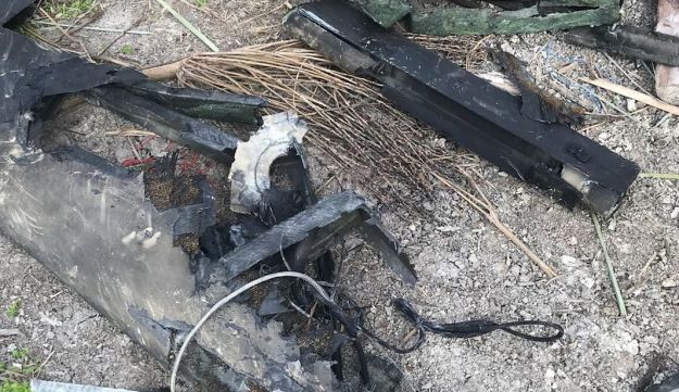 Wreckage of Iranian drone that infiltrated Israeli airspace on Saturday, as seen in a photo released by the Israeli military.