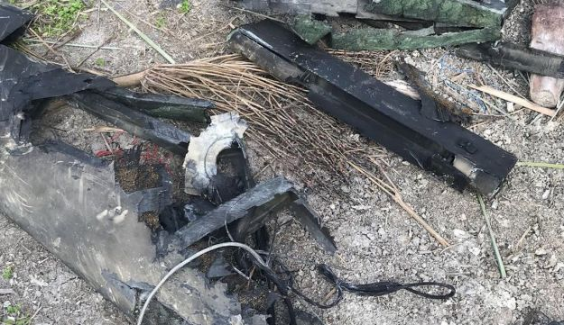 The destroyed Iranian drone shot down by the Israeli army, February 10, 2018