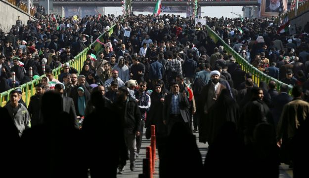 Iranians attend a rally marking the 39th anniversary of Iran's 1979 Islamic Revolution, in Tehran, Iran on February 11, 2018.