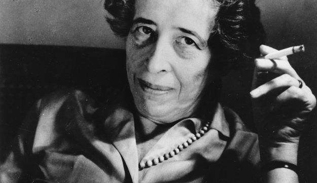 Hannah Arendt, political philosopher and scholar, smoking a cigarette. 1969.