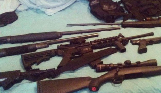 This photo posted on the Instagram account of Nikolas Cruz shows weapons lying on a bed.