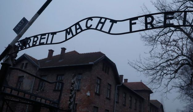 The 'Arbeit Macht Frei' gate at Auschwitz, the former Nazi German concentration and extermination camp. Oswiecim, Poland, January 27, 2018