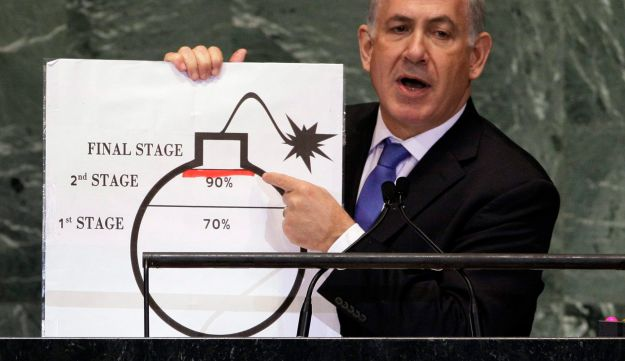 Prime Minister Benjamin Netanyahu with his bomb illustrating the red line for Iran's development of a nuclear bomb, at the UN in 2012.