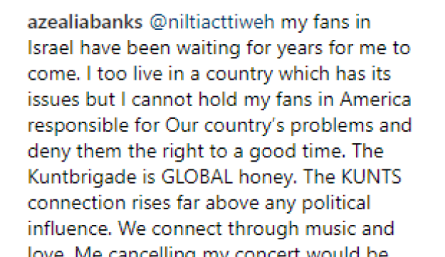 Azealia Banks responds to fan over BDS outcry on Instagram