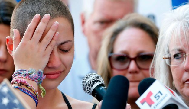 Marjory Stoneman Douglas High School student Emma Gonzalez reacts during her speech at a rally for gun control at the Broward County Federal Courthouse in Fort Lauderdale, Florida. February 17, 2018