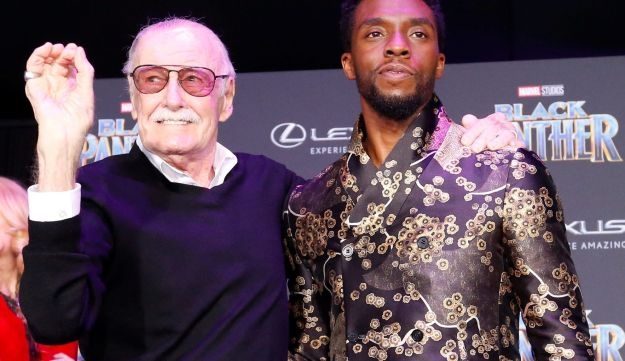 "Stan Lee (L) with cast member Chadwick Boseman at the premiere of ""Black Panther"" in Los Angeles, California, U.S., January 29, 2018."