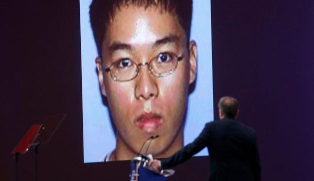 NRA Executive Vice President and CEO Wayne LaPierre an NRA promotional video with the image of Virginia Tech mass murderer Seung-Hui Cho at the CPAC annual conference, Maryland, U.S. February 22, 2018