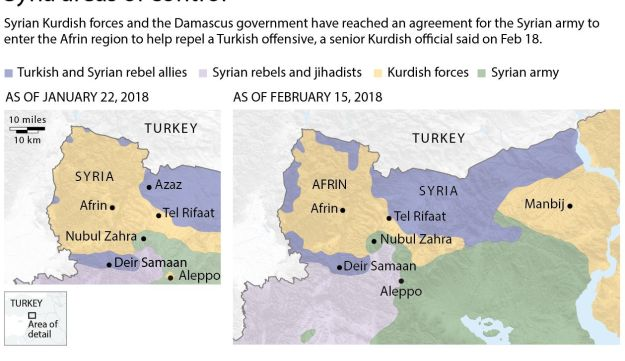 Map showing areas of control in Syria as of Feb 15