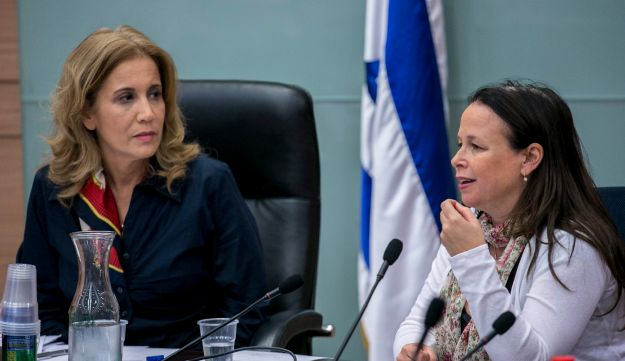 MK Aliza Lavie and the treasury's director general, Yael Andorn, at a Knesset meeting on the status of women in 2014.
