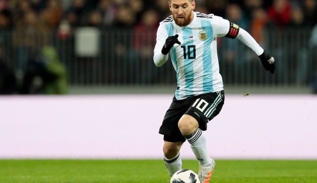 FILE PHOTO: Argentina's Lionel Messi controls the ball during the international friendly soccer match.