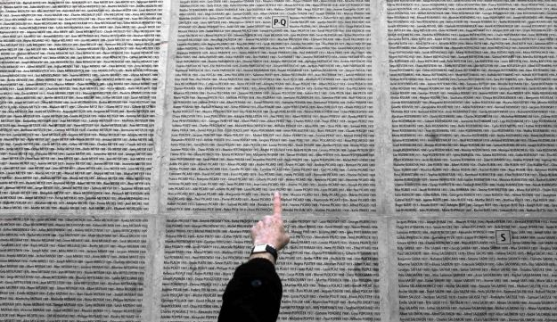 The wall of the Shoah Memorial in Paris, listing the 76,000 Jews deported by the Nazis from France. Most were murdered between 1942-1944 in Auschwitz-Birkenau and only 2,500 people. January 23, 2005
