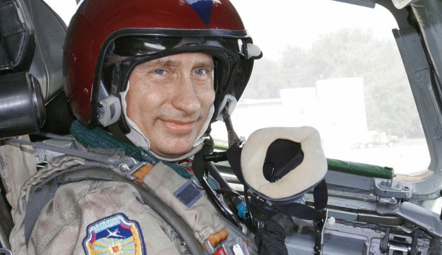 Russian President Vladimir Putin in the cockpit of a supersonic strategic bomber in Moscow, Russia, Aug. 16, 2005