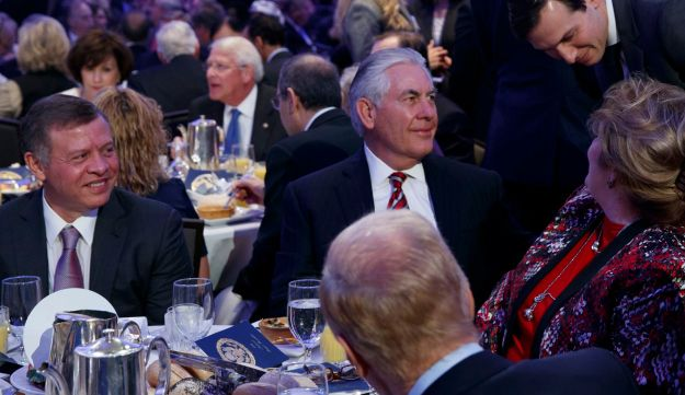King Abdullah of Jordan, left, looks on as Jared Kushner talks with Secretary of State Rex Tillerson and his wife during the National Prayer Breakfast in Washington D.C. Feb. 2, 2017