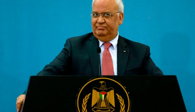 Palestinian diplomat Saeb Erekat speaks to journalists during a press conference after meeting with diplomats and foreign dignitaries, in the West Bank city of Ramallah, February 28, 2018.