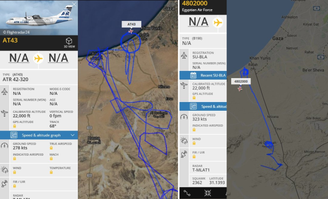 Egyptian Air Force B1900 (right) and U.S. registered ATR-42 operating against ISIS in Sinai