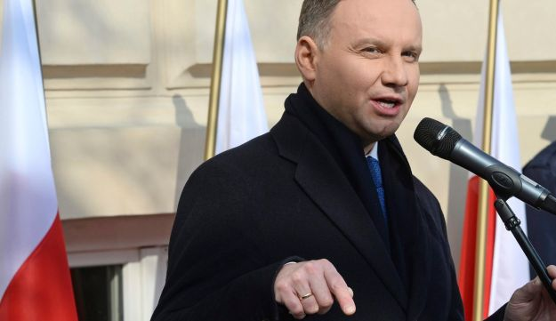 Polish President Andrzej Duda speaks during ceremonies marking the 50th anniversary of the purge of Jews from Poland by the communist regime, in Warsaw, Poland, March 8, 2018.