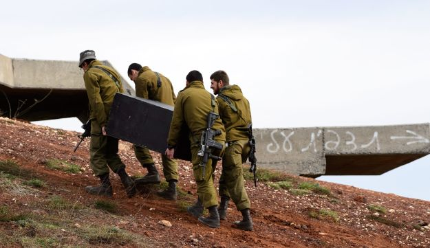 Israel forces prepare in the Golan Heights February 2018