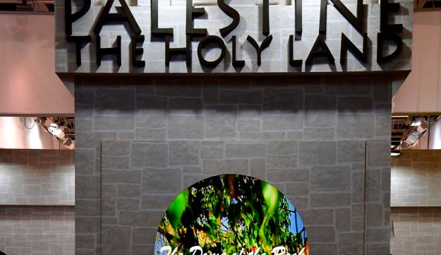 A view of the Palestine stand is pictured at the International Tourism Trade Fair (ITB, Internationale Tourismusboerse) in Berlin during the fair's opening day on March 7, 2018.