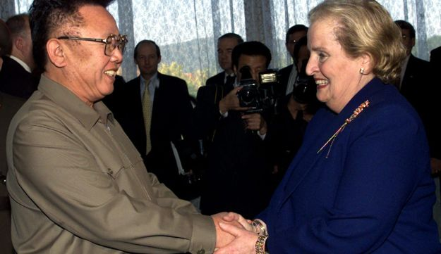 FILE - In this Oct. 23, 2000, file photo, North Korean Leader Kim Jong Il, left, shakes hands with U.S. Secretary of State Madeleine Albright at the Pae Kha Hawon Guest House in Pyongyang. U.S. President Donald Trump could become the first sitting U.S. president to visit North Korea if plans for a summit with Kim Jong Un hold. But other prominent American political figures have visited Pyongyang in the past, many with a similar goal of trying to stop its nuclear program. Albright is the highest-level U.S. official to visit North Korea while in office (AP Photo/David Guttenfelder, Pool, File)