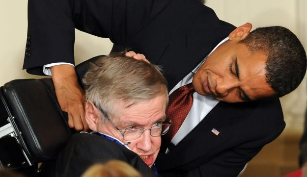 Stephen Hawking receives the Presidential Medal of Freedom from U.S. President Barack Obama, 2009.