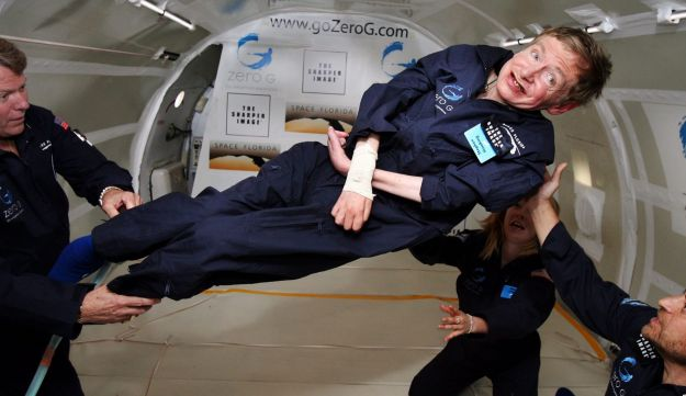British cosmologist Stephen Hawking experiences zero gravity during a flight over the Atlantic Ocean, 2007.