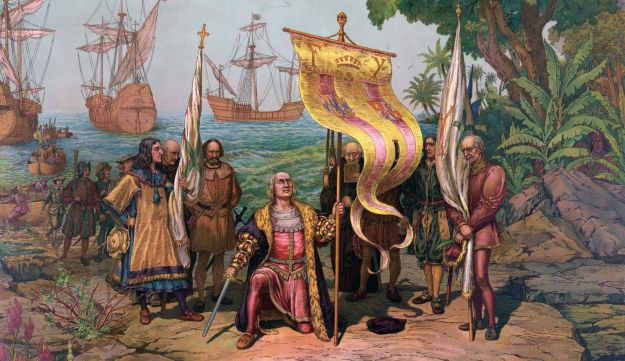 Christopher Columbus arrives in America, in an 1893 painting.
