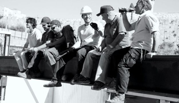 Adiel Coleman (third from the right) working in the City of David excavation site