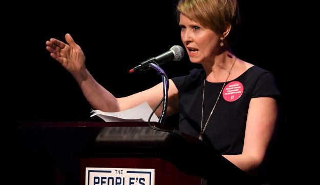 "FILE PHOTO: Actress Cynthia Nixon speaks during the ""People's State of the Union"" event one day ahead of President Trump's State of The Union Speech to Congress, in Manhattan, New York, U.S.,  January 29, 2018."