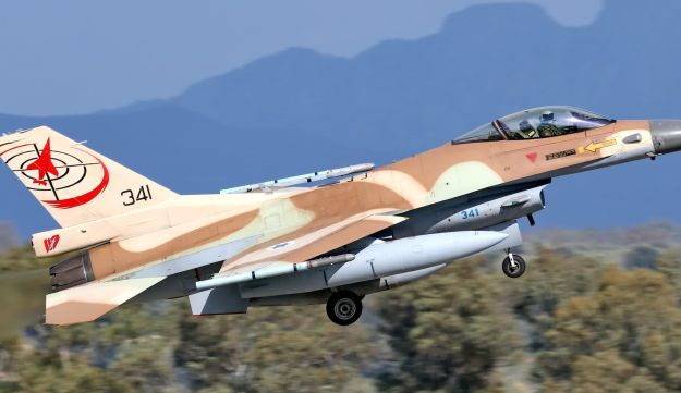 An Israeli air force F-16C takes off, at the Iniohos exercise, March 22, 2018.