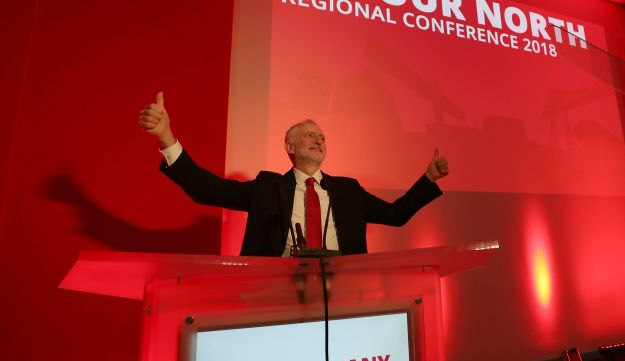 Leader of Britain's opposition Labour Party, Jeremy Corbyn at a regional conference at Newcastle University, Britain March 17, 2018