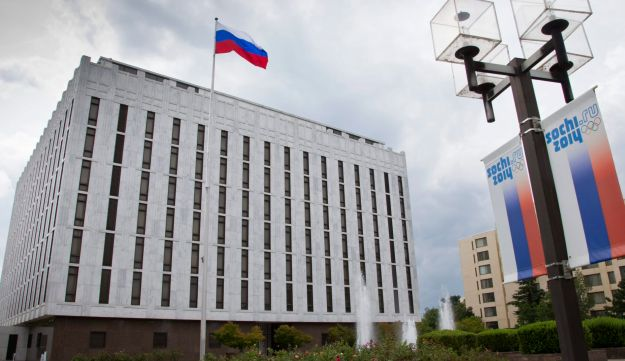 A file photo of the Russian Embassy complex in Washington.