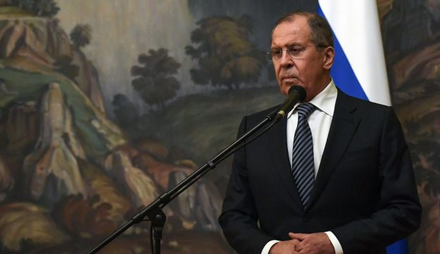 Russian Foreign Minister Sergei Lavrov makes a statement on the decision to expel 60 US diplomats and close its consulate in Saint Petersburg in a tit-for-tat expulsion over the poisoning of ex-double agent Sergei Skripal, in Moscow on March 29, 2018.