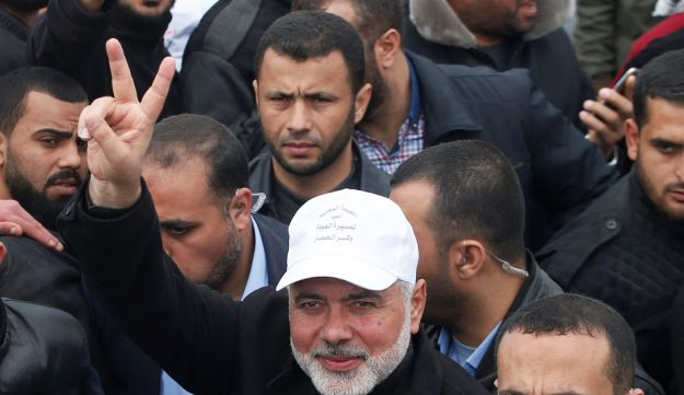 Hamas chief Ismail Haniyeh at a protest along the Israeli border with Gaza, March 30, 2018.