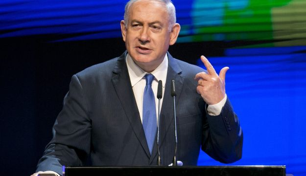 Prime Minister Netanyahu giving a speech at a conference in Tel Aviv on March 27, 2018.