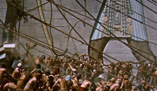 The slaves in Egypt as depicted in the Hollywood spectacle 'The Ten Commandments.'