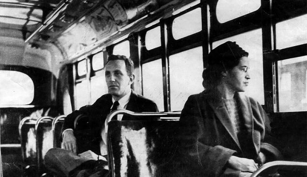 Rosa Parks riding on the Montgomery Area Transit System bus. A carefully planned act that initiated a boycott of the public transportation system