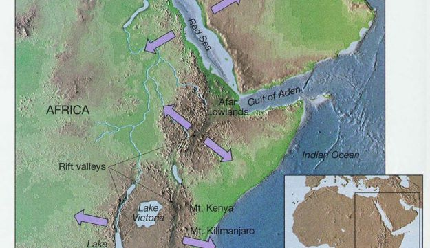 Plate tectonics: The Nubian (African) plate is moving west relative to the Somali plate, which is moving east relative to the Nubian plate. Israel sits on a microplate, against which the African plate is moving north.