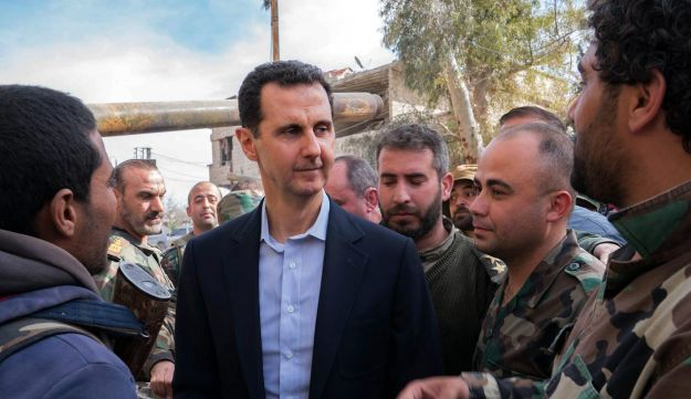 Syrian President Bashar Assad talking with troops in Eastern Ghouta, March 18, 2018.